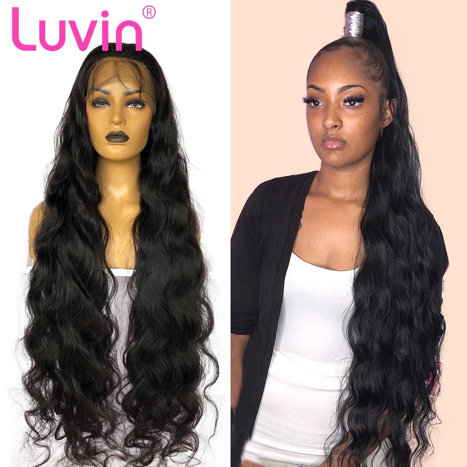 Luvin Invisible Fake Scalp 28 30 inch Body Wave 13x6 Lace Front Human Hair Wigs Brazilian