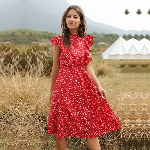 ruffled calf-length summer dress 5