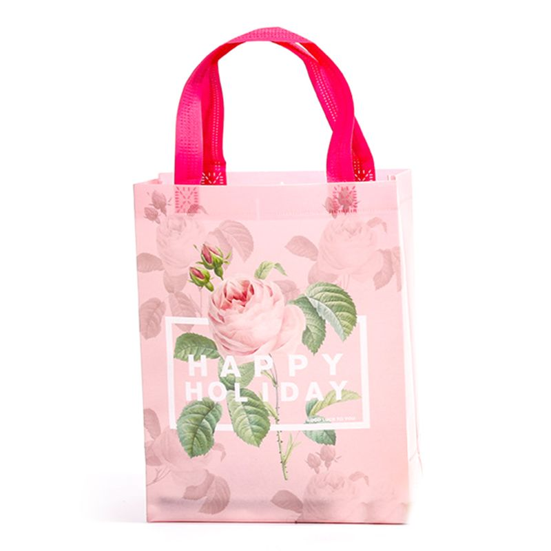 Flower Printed Gift Bag Portable Non-woven Goodie Bags Present Storage Holder 4XFF