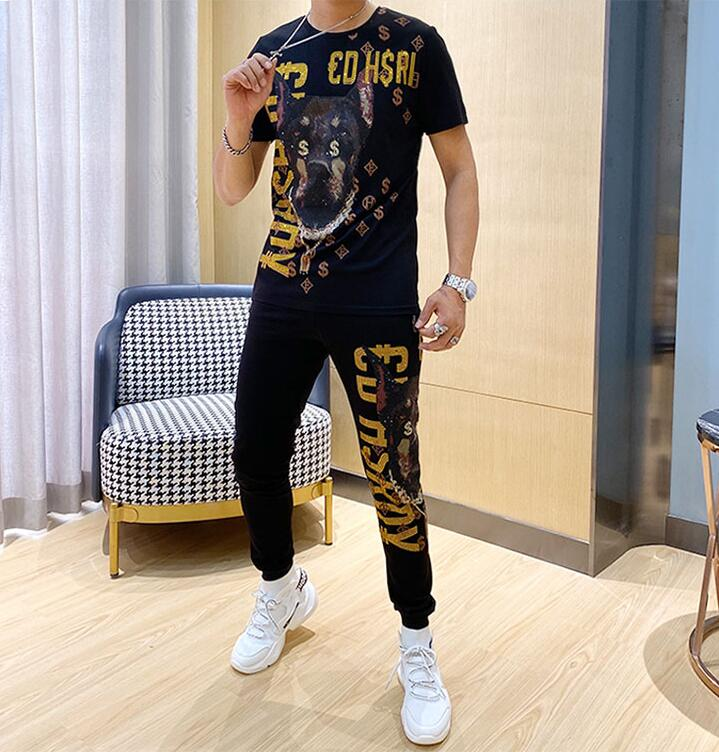 Spring And Summer Men's New Suit European And American Fashion Brand Hot Diamond  Short Sleeve  Two Piece Leisure Tracksuit