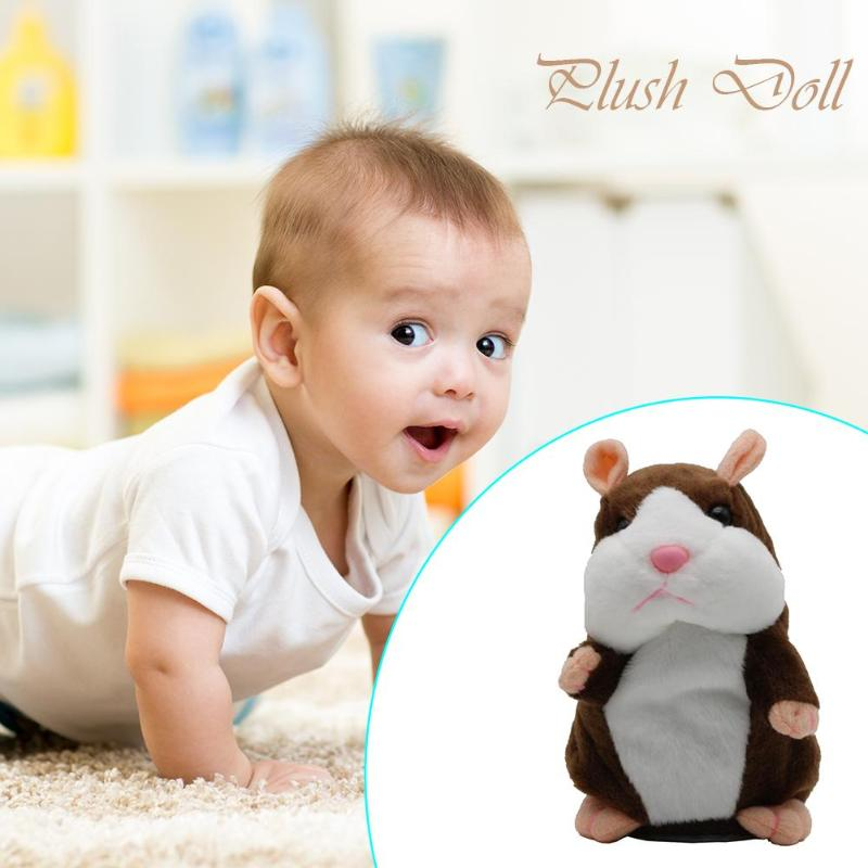 15cm Cute Walking Talking Hamster Plush Animal Doll Funny Sound Record Repeat Voice Changing Educational Toy Pets