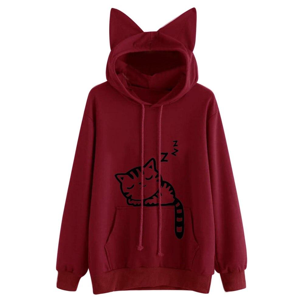 Harajuku Women Hoodies Sweatshirt Kawaii Pink Winter Cat Pattern Long Sleeve Moletom Hooded Sweatshirts Ear Hooed Mujer