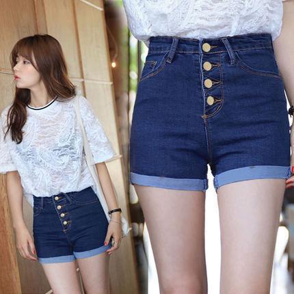 2020 College Winds Fashion Feminino 4 Buttons High Waist Retro Solid Color Slim Elastic Short Jeans Blue Fitness Denim Shorts