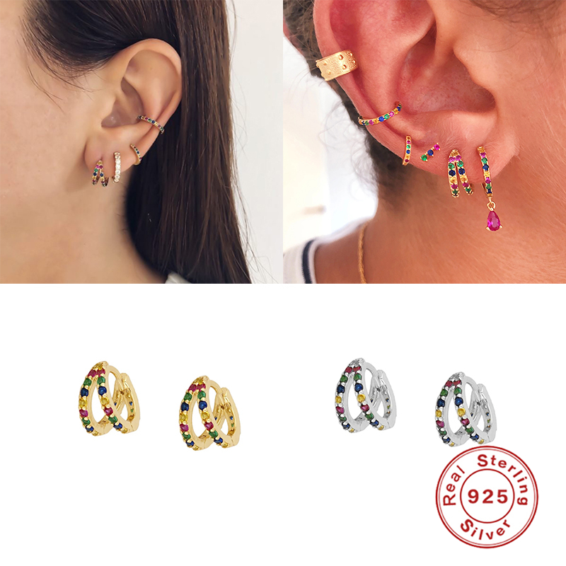 925 Sterling Silver Bling Colorful Zircon Hoops Earring For Valentine's Day Engagement Party Gift Round Pendientes Fine Earrings