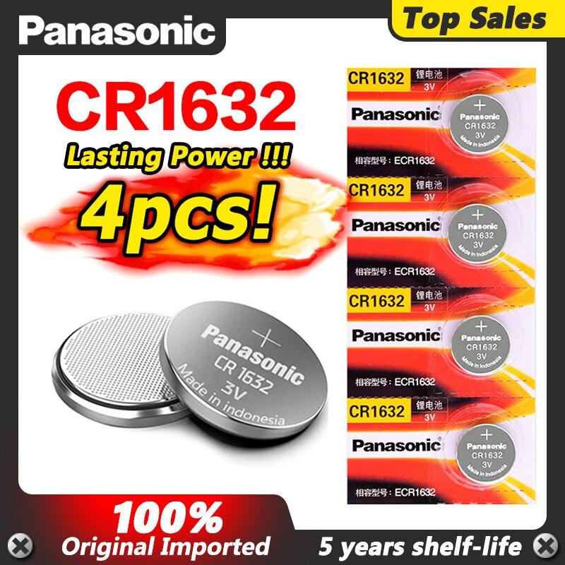 4 X оригинальный абсолютно новый аккумулятор для PANASONIC cr1632 3v кнопочные батарейки для часов компьютера cr 1632 подходящие часы