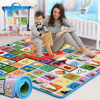 Baby Crawling Play Mat 1.5*1.8 Meter Climb Pad Double-Side Fruit Letters Animal Foldable Baby Toys Playmat Kids Carpet Baby Game good little baby crawling mat climb pad double sided pattern of increased moisture thicker section skid game blanket outdoor pad