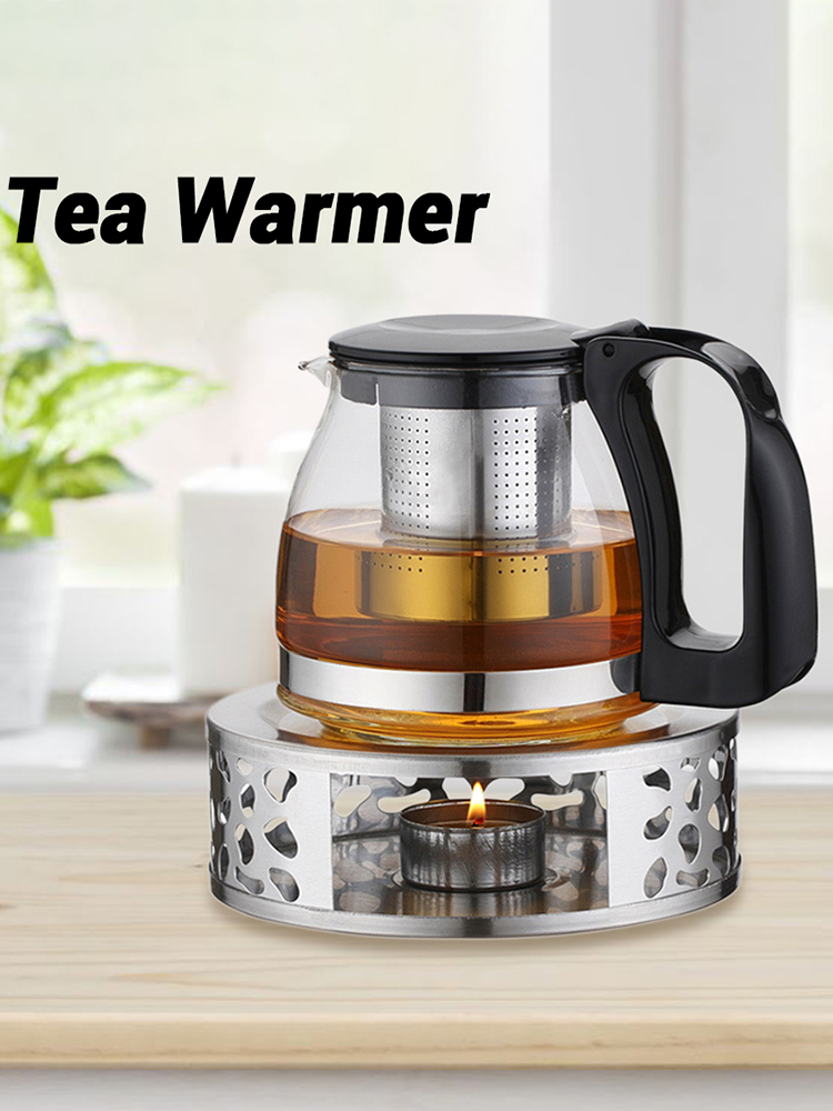 Tea Pot Heating Base Tea Coffee Warmer Candle Stainless Steel Teapot Holder Milk Insulation Candle Holder Tea Accessories