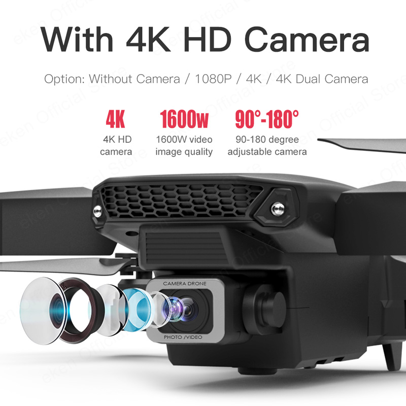 E525 PRO 4K Mini Drone Profissional Obstacle Avoidance Dual Camera Fixed Height RC Quadcopter Dron Helicopter FPV 3