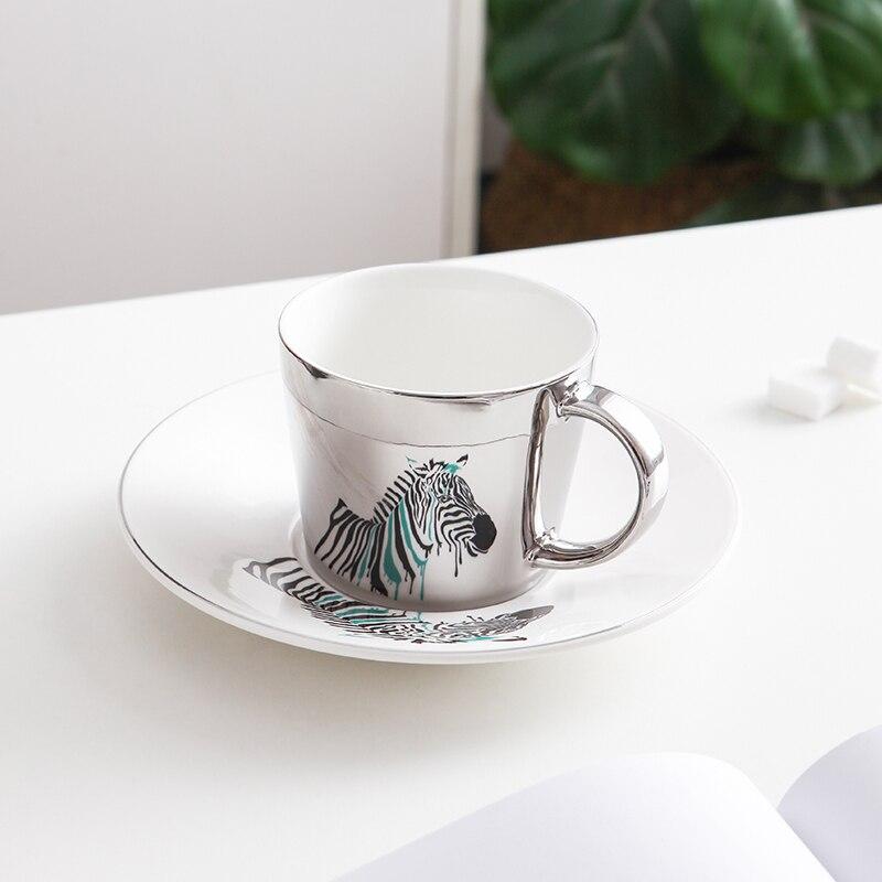 fanquare Tasse de Caf/é Miroir de R/éflexion Motif Oiseau Tasse /à Th/é et Soucoupe en C/éramique Mug en Porcelaine Argent/é 250 ML