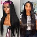 Luvin дешевые 26 30 40 дюймов 180 плотность прямые бесклеевые кружевные передние человеческие волосы парики для женщин Бразильский фронтальный па...