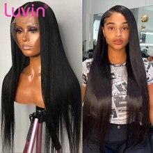 Luvin barato 26 30 40 Polegada 180 densidade reta glueless frente do laço perucas de cabelo humano para as mulheres brasileiro peruca frontal pré arrancadas