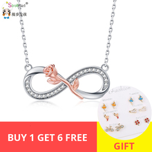 StrollGirl authentic 925 silver rose necklace luxurious infinity symbol necklaces & pendant fashion Jewelry valentine Gifts New