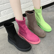 Green Pink Boots 2019 New Suede Winter Boots Women Fashion Rubber Boots Slip On Platform Boots Ankle Boots Women Martin Boots gray zipper suede ankle slip on women boots