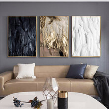 Minimalism Modern Painting Black and White Gold Feather Wall Art Canvas Painting Poster Living Room Bedroom Home Decoration