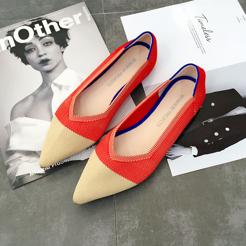 Casual Fashion Comfortable Pointed Toe Flat Shoes Women New Mesh Slip on Shoes for Women Ladies Flats Knitted Loafers VT667 (8)