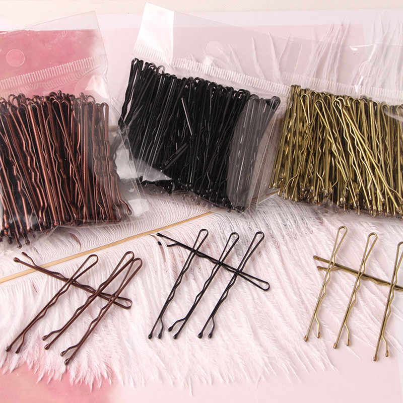 100 Pcs Bruiloft Legering Bobby Pins Hair Clips Haarspelden Barrette Haarspelden Haar Accessoires Black Side Draad Woord Map Styling Tools