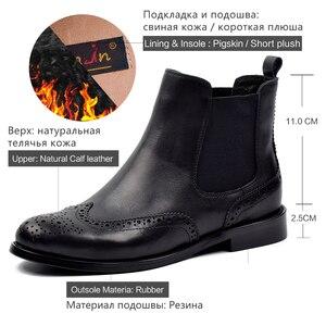 Image 5 - דונה בנשים שחור אמיתי עור מגפי מגולף קרסול מגפי נמוך עקבים גבירותיי פלטפורמת צ לסי מגפי סתיו 2020 גבירותיי נעליים