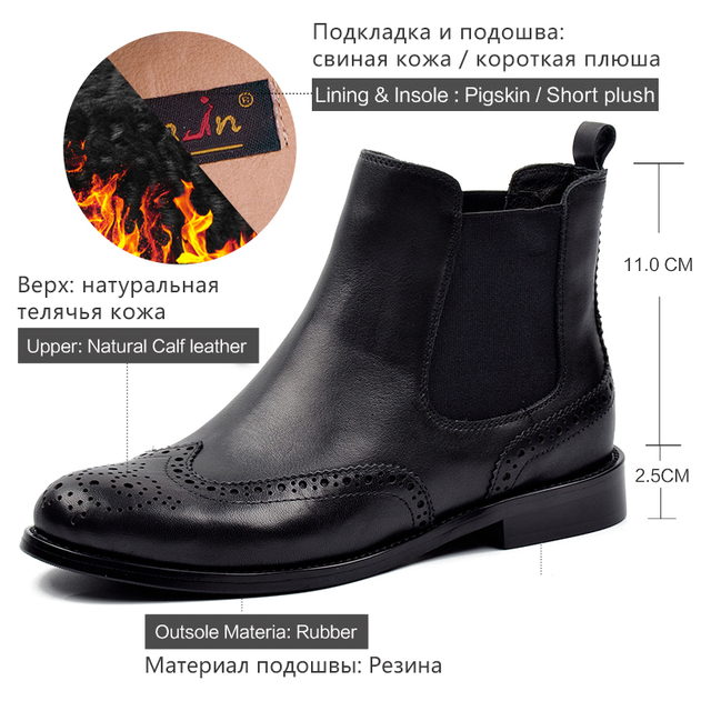Donna in Women Genuine Leather Boots Brogue Carved Ankle Boots Fashion Chelsea Low Heels Ladies Booties