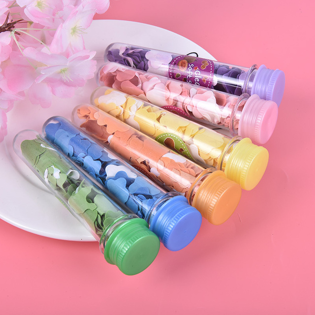 1pc Tube Portable Petal Soap Random Colors Flower Shape Fruity Odour for Travel Scented Soap Bath Child Hand Washing Soap Paper 1