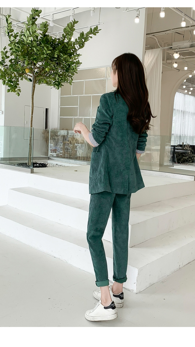Autumn Winter Blazer Pants Suit Women Korean Chic Fashion Office Ladies Green Corduroy Casual High Waist Small Feet Pants Suit 58