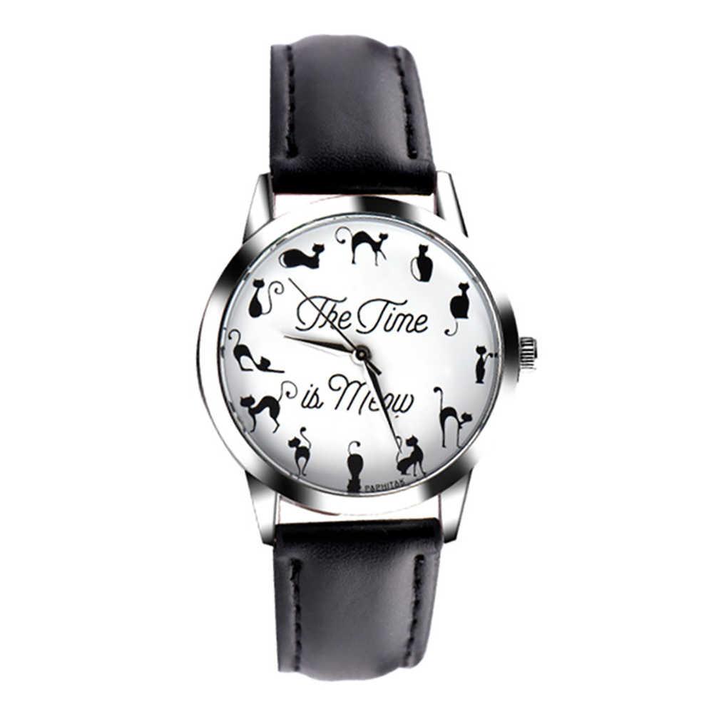 Novedoso reloj de pulsera para parejas con correa de cuero de imitación de cuarzo con esfera de letras para gatos nuevo reloj de moda para amantes regalos de navidad