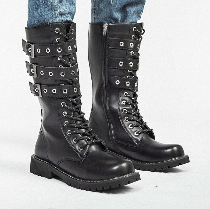 combate do exército botas moda masculina cinto gótico botas do punk