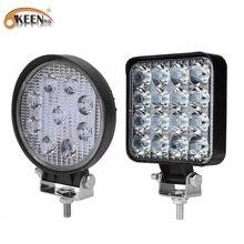 OKEEN 9LED 27 Вт 16 светодиодов 48 Вт светильник 12 в 24 В автомобисветильник Светодиодный прожектор квадратный Круглый автомобиль грузовик внедорож...