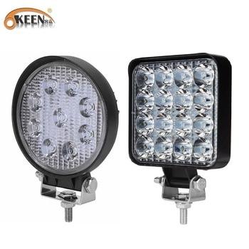 OKEEN 9LED 27W 16LED 48W Work Light 12V 24V Car LED Spotlight Square Round Auto Truck Off Road Mini Ledbar Offroad Accessories 1