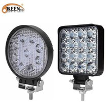 Okeen 9LED 27W 16LED 48W Work Light 12V 24V Auto Led Spotlight Vierkante Ronde Auto Truck off Road Mini Ledbar Offroad Accessoires