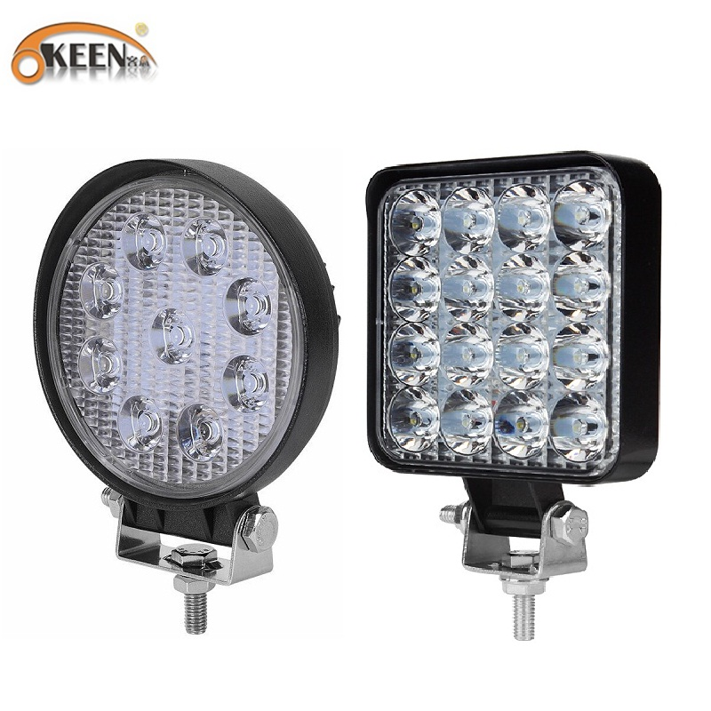 OKEEN 9LED 27W 16LED 48W Work Light 12V 24V Car LED Spotlight Square Round Auto Truck Off Road Mini Ledbar Offroad Accessories