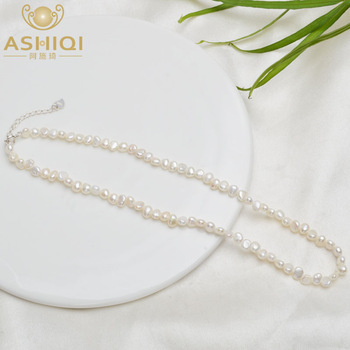 ASHIQI Natural Freshwater Pearl Choker Necklace Baroque pearl Jewelry for Women wedding 925 Silver Clasp Wholesale 2021 trend 1