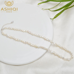 ASHIQI Natural Freshwater Pearl Choker Necklace Baroque pearl Jewelry for Women wedding 925 Silver Clasp Wholesale 2021 trend