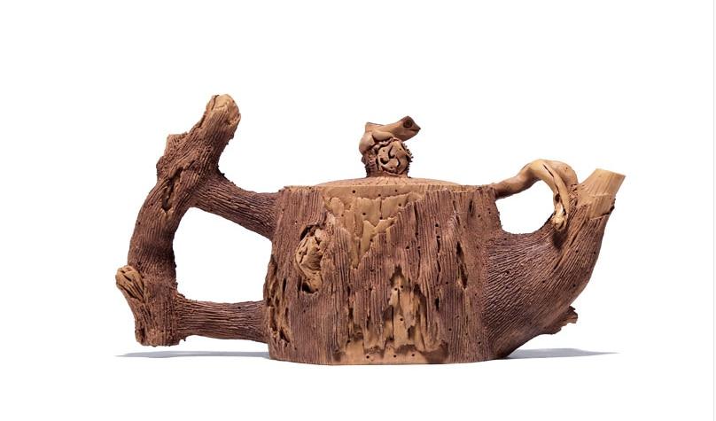 Chinese Yixing Zisha Pottery 130cc Duan Clay Handmade Tree Stool Teapot