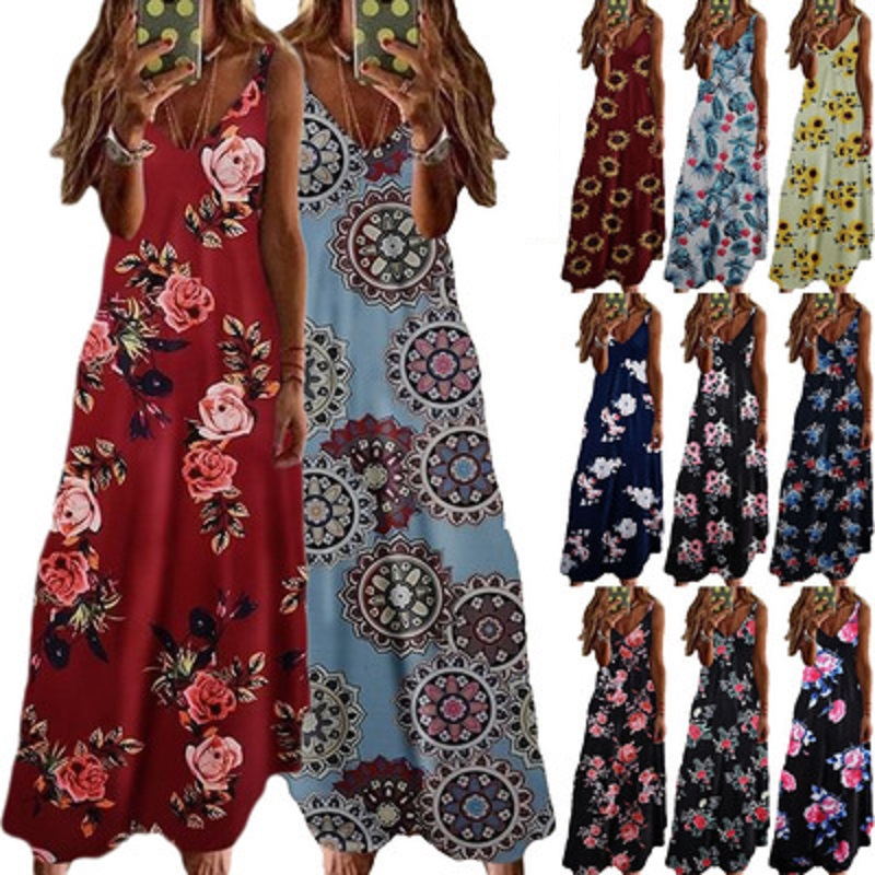 Vintage Leaf Print Dress Sexy Spaghetti Strap V-neck Long Dress Women Summer Large Swing Beach Dresses Party Tunic Plus Size 5XL