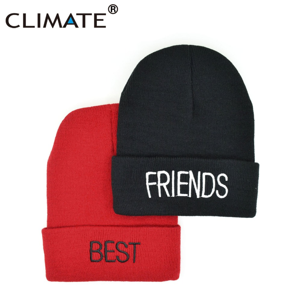 CLIMATE Best Friends Beanie Hat Men Women Winter Warm Knit Skullies Ladybro Compadre Black Red Hat Beanie For Adult Women Youth