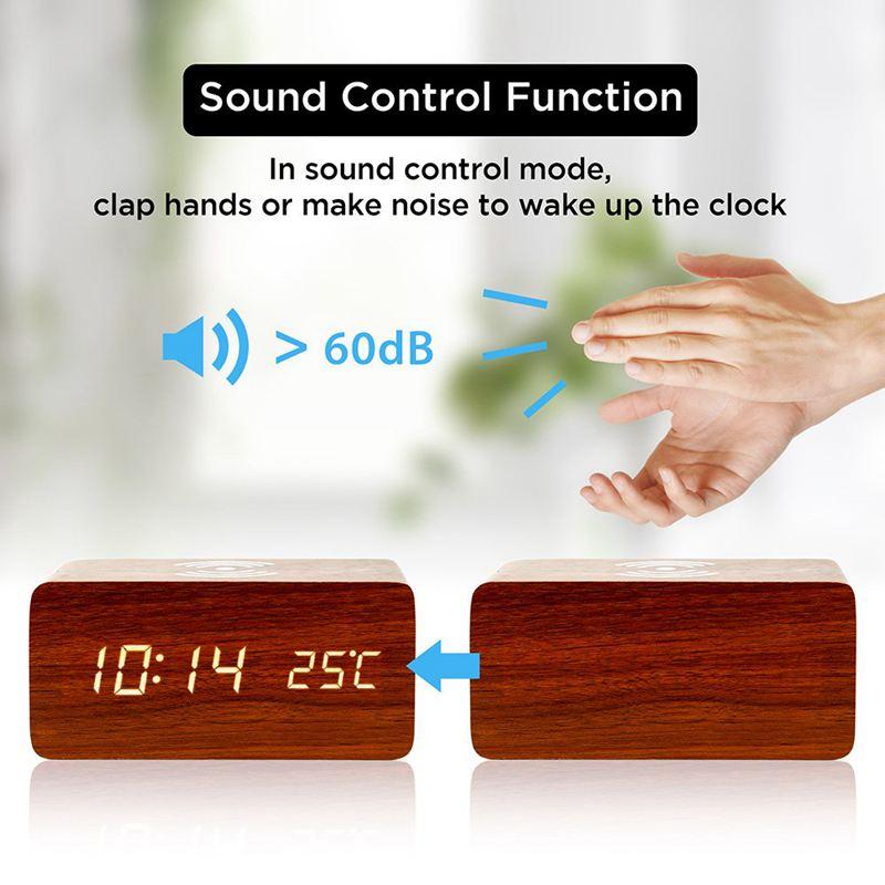 Sveglia Con Per Qi Pad di Ricarica Wireless Compatibile Con Per Il Iphone Samsung di Legno Orologio Digitale A Led di Funzione di Controllo del Suono, 2