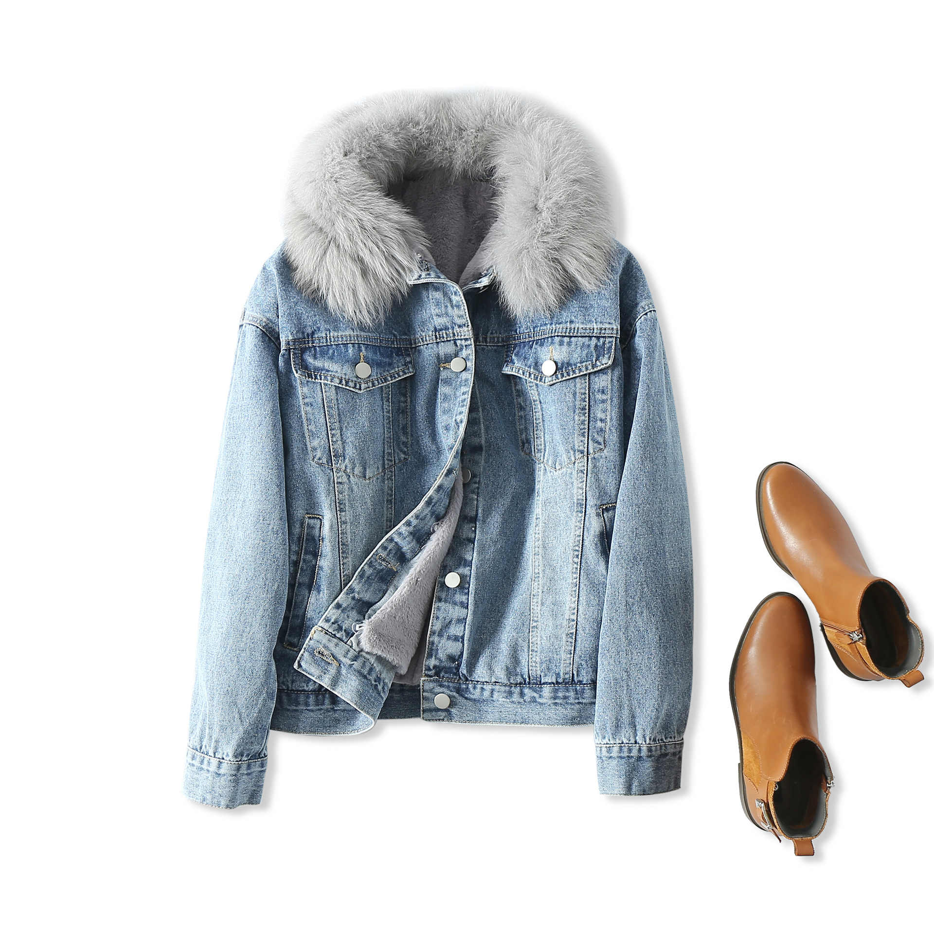 18 Winter New Products Warm Accent Fox Fur Collar Deconstructable Dehaired Angora Inner Wearing Cowboy Cotton Coat Women's