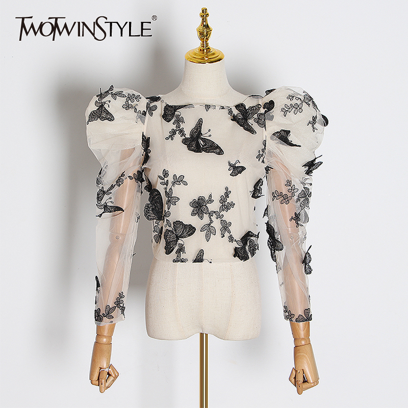 TWOTWINSTYLE Embroidery Butterfly Mesh Shirt Women O Neck Puff Sleeve Top Perspective Blouse Female Fashion 2019 Tide