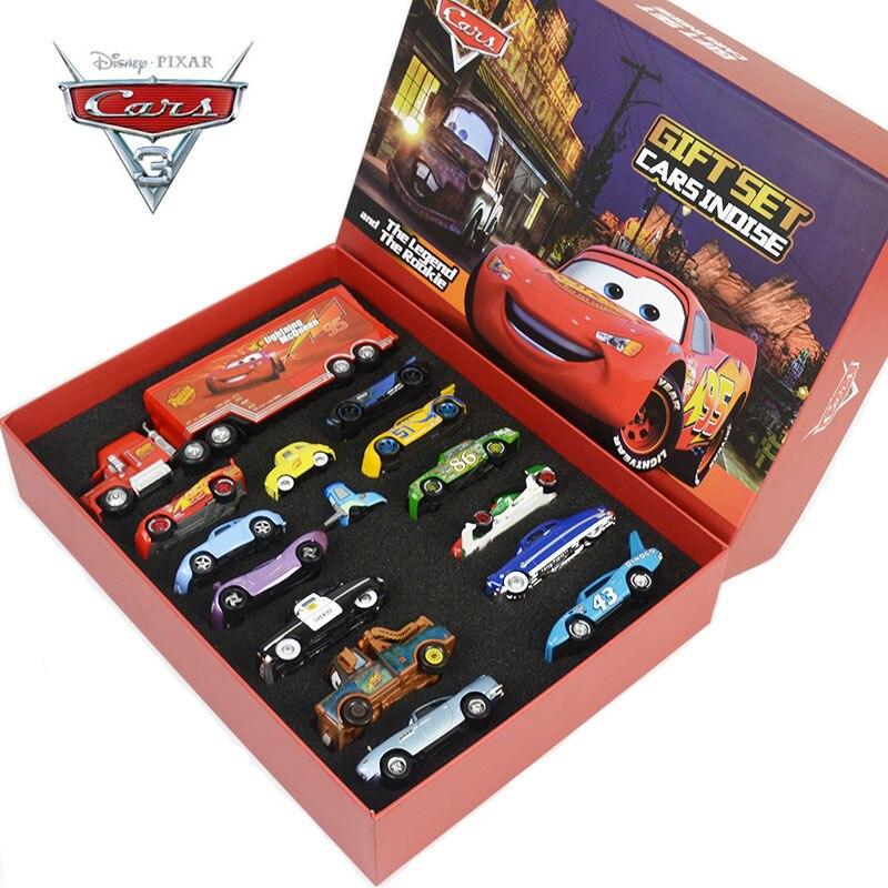 Disney pixar3 metal 1:55 liga modelo de carro, caixa de presente de brinquedo, conjunto relâmpago mcqueen e mater, sally, presente da criança raymond