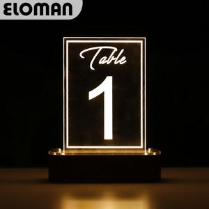 LED wedding table number 1-50 ELOMAN clear acrylic table numbers for wedding event party table decoration