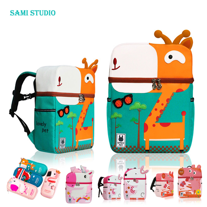 Kid Unicorn Backpack Cute 3D Cartoon Dinosaur Anti-lost Printed Kindergarten Orthopedic School Bag For Girl Boy Children Mochila
