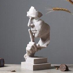 Cisza jest złota rysunek abstrakcyjne rzemiosło kreatywne Nordic rzeźbione dekoracyjne Retro biuro salon dekoracji prezent w Figurki i miniatury od Dom i ogród na