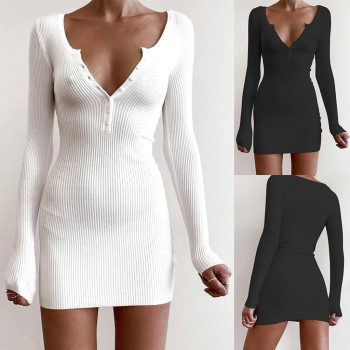 Autumn Winter Solid Sheath Sweater Long Sleeve Dresses Women Loose Pullover Fashion V-neck Female Knitted Mini Dress Vestidos spring long sleeve ruffles dress for women solid v neck casual loose mini dress button female autumn a line office vestidos