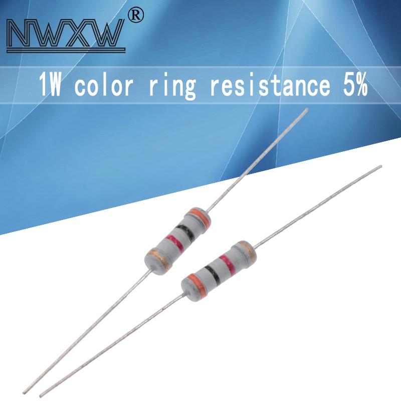 20pcs 1W filme De Metal resistor 5% 0.1R ~ 1M 10R 22R 47R 100R 330R 47 22 10 1K 4.7K K K K 100K 330K 470K 1 2 10 22 47 100 330