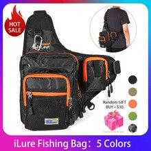 Sac de pêche imperméable en toile, sac à dos bandoulière de grande capacité avec housse de canne à pêche, boîte