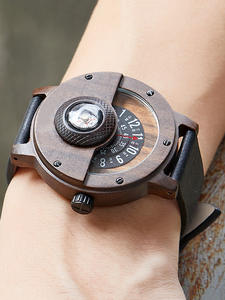 WOODEN Clock Turntable Wrist Real-Walnut-Ebony Bamboo Black Male Creative Reloj Compass