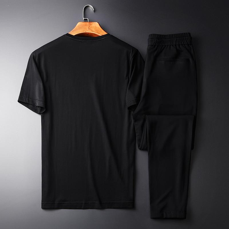 Летние мужские комплекты (футболки + брюки), высокая плотность, вышитые с коротким рукавом, мужские комплекты размера плюс 3XL 4XL, мужские комплекты со штанами - 2