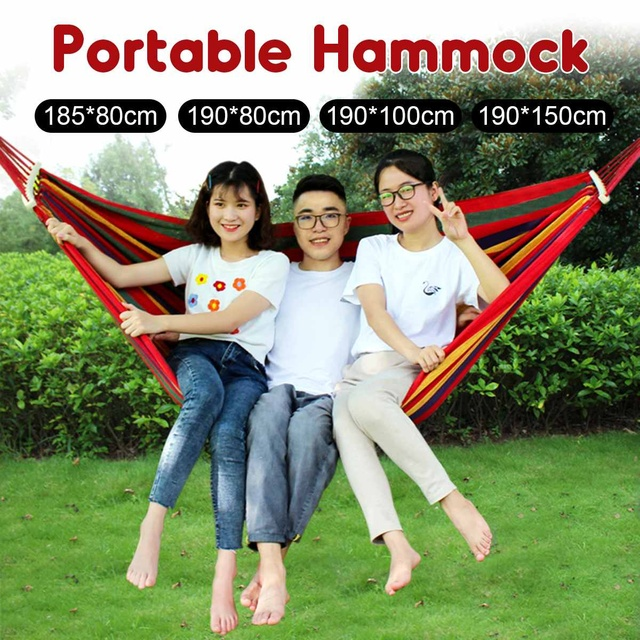 Portable Canvas Hammock Travelling Outdoor Picnic Wooden Swing Chair Camping Hanging Bed Garden Furniture with Backpack 2