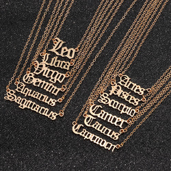 Trendy 12 Constellation Jewelry Necklace Vintage Old English Zodiac Sign Pendant Gold Color Aries Leo Charm Necklace Birth Gift