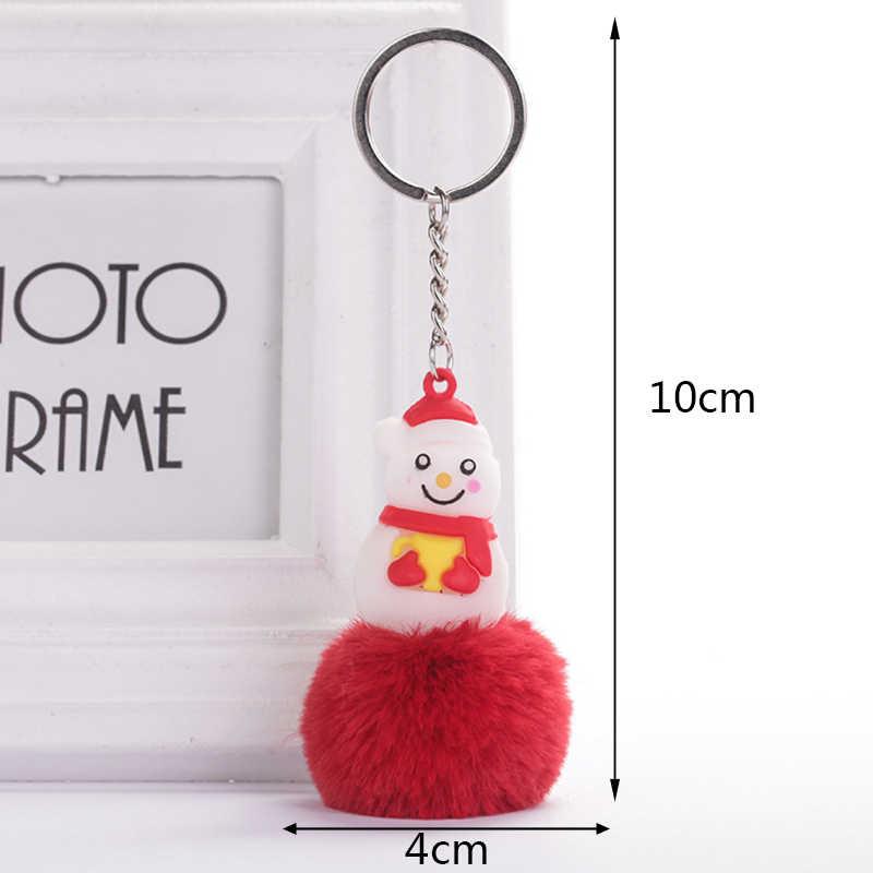 Fluffy Faux Fur Pompom Boneco PVC Chaveiros Para Mulheres Anéis Chave Saco Chave Do Carro Pingente de Acessórios Do Presente Do Natal